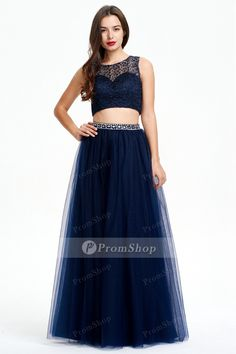 Classic Two-piece A-Line Sleeveless Beading Long Tulle Prom Dress Prom Dress 2014, Tulle Prom Dress, Prom Dresses Australia, Prom Party, Dress Formal, Cheap Dresses, Beading, Classic, Shopping