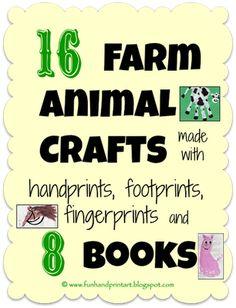 Fun Handprint and Footprint Art : Farm Animal Crafts made with handprint, footprints, & thumbprints + 8 Books!