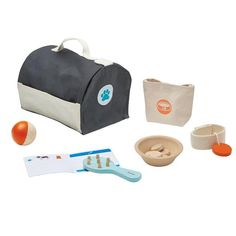 Plan Toys Pet Care Set The Plan Toys Pet Care set is the perfect way for children to look after their toy animals. The set includes a hair brush, play ball, feeding bowl with food, collar, accessory bag and a fabric pet carrying cage. Children love to pl The Animals, Making Wooden Toys, Wooden Wagon, Plan Toys, Pikachu, Pet Carriers, Child Love, Pet Care, Bag Accessories