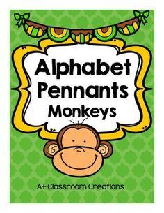 Monkey alphabet pennants