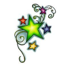 Green decorated star tattoo