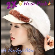💜Last One💜2X Host Pick Beautiful Beige Fuzzy Cap 2X HP!! Super cute and trendy fuzzy beige cap. Has brown furry band in front wrapped with gold colored chain. Last in this color. Also have in black listed separately. Accessories Hats