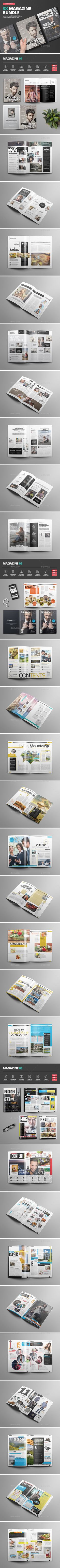Magazine Bundle by -BeCreative- Magazine Bundle: Professional and clean InDesign magazine templates. Includes 5 covers and 78 pages for articles, interviews, gall Brand Magazine, Cool Magazine, Magazine Design, Magazine Cover Page, Cover Page Template, Indesign Magazine Templates, Cover Pages, Print Templates, Page Design