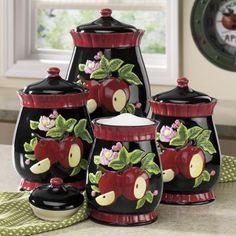 Kitchen Canister Set, Canister Sets, Apples Licious, Kitchen Canisters, Apples Galore, Apples Decor