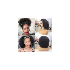 XSZM Headband Wigs Natural Black Afro Kinky Curly None Lace Front Wigs Human hair 150% Density Deep Wave Machine Made…