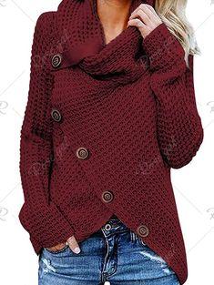 Pull montant avec cinq boucles pour femmes Knit Cardigan b893ed7e0