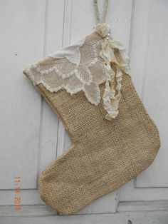 Burlap Christmas Stocking with Vintage Hankerchief Cuff