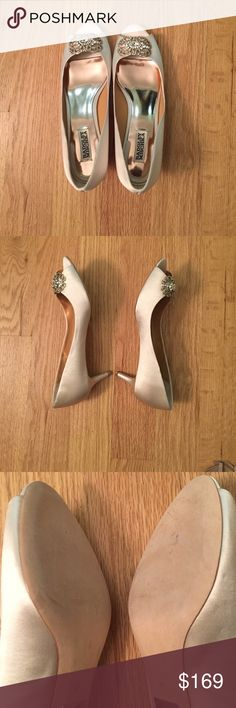 Badgley Mischka sensation dress pump Comes in box, like new, wore for wedding dress fitting only, ended up wearing something else, satin pump with 2 inch heel, rhinestone bauble detail, leather sole, color is ivory Badgley Mischka Shoes Heels