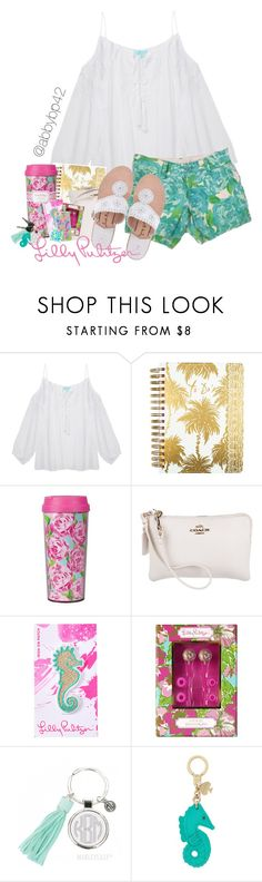 """Lilly Pulitzer After Party Sale!! I linked these shorts down below!"" by abbybp42 ❤ liked on Polyvore featuring Melissa Odabash, Lilly Pulitzer, Coach, Jack Rogers and Kate Spade"