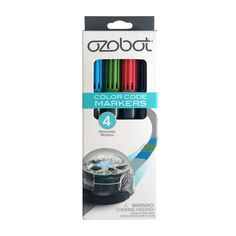 Ozobot Washable Markers optimized for drawing lines and color codes for Ozobot 1.0 and Ozobot Bit. - Black, red, green and blue colors have been optimized specifically for Ozobot robots. - You can use