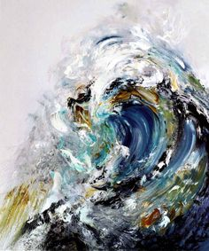 "Here is a painting done by Maggi Hambling called ""Wave"". It captures the element of design known as space. The image has depth and creates a three-dimensional effect. The color scheme is also strong and visually powerful. It is analogous to the violent storm known as ""The Tempest""."