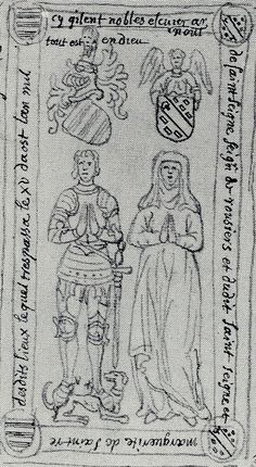 Effigies and Brasses: Arnould de Saint Seine (1430)  10 years before focus. winged elbow. skirt covering lower torso/hips - does not appear to be split.