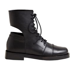 Achilles Ion Gabriel Women's Artor Leather Boots (4,445 CNY) ❤ liked on Polyvore featuring shoes, boots, black boots, black, black cutout boots, cutout shoes, clear boots and black shoes