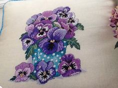 L - WINTER PANSIES CUSHION - Cross Stitch Pattern Only