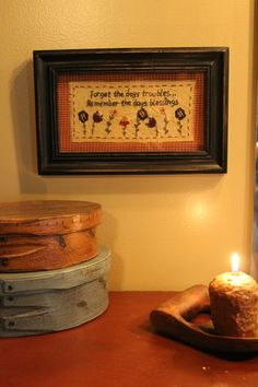 Primitive decor bathroom stichery saying, shaker boxes and treenware with candle Primitive Bathrooms, Primitive Decor, Boxes, Candles, Frame, Ideas, Home Decor, Picture Frame, Crates