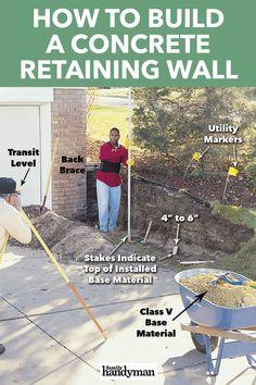 Concrete Block Retaining Wall, Backyard Retaining Walls, Concrete Blocks, Concrete Wall, Working Wall, Hydrangea Care, Wall Borders, Garden Yard Ideas, Landscaping Tips