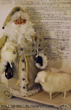 Primitive, Folk Art, Shabby Cottage OOAK Pull Toy Santa Doll...Olde Kris Kringle & his Flock Pull Toy. via Etsy.