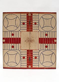 Red white and blue Patriotic American Antique Parcheesi Folk Art Gameboard For Sale From Z and K Antiques Antique Toys, Vintage Toys, Vintage Stuff, Early American Furniture, Antique Teddy Bears, Board Game Design, Childhood Games, Vintage Board Games, My Art Studio