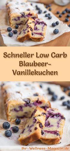 Rezept für Low Carb Blaubeer-Vanillekuchen - kohlenhydratarm, kalorienreduziert, ohne Zucker und Getreidemehl