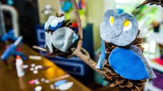 DIY Pine Cone Owls for fall! DIY by @kennethwingard & Coco!