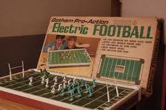 Electric Football Game - too funny! our brother had one and all it did was virbrate, so the players would move along in little bits with the vibration. We thought it was high technology! haha