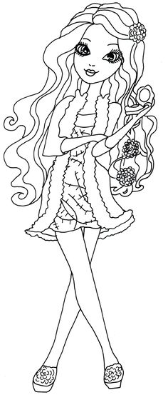 Free Printable Ever After High Coloring Pages: Briar Beauty Getting Fairest Coloring Page