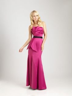 #Strapless Crumb Catcher Neck Fit and Flare Long Fuschia Satin #Evening #Formal #Gown