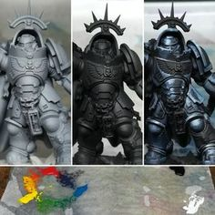 miniature painting: Space Marine: Primaris Captain in Black Armour Warhammer Wood Elves, Warhammer Paint, Warhammer Models, Warhammer 40000, Warhammer Fantasy, Black Armor, Grey Knights, Fantasy Figures, Warhammer 40k Miniatures