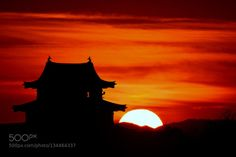 Castle at Sunset by Yokai  Japan Yokai castle landscape silhouette sky sun sunset winter Castle at Sunset Yokai