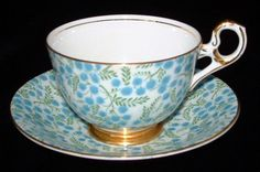 Chintz Tea Cup And Saucer Aqua Floral English Old Royal Vintage 1930s