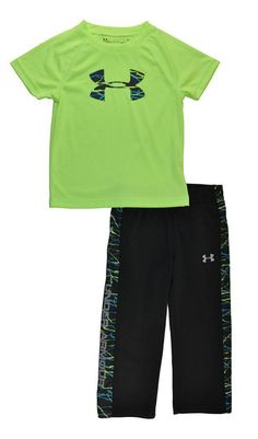 93ee04eb08 Under Armour Toddler Boys Quirky Lime Dry Fit Top 2pc Pant Set Size 2T   fashion