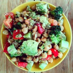 Chickpea salad with olive tapenade dressing