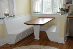 Banquette with Black Walnut Table top. Custom made by Square Peg, Asheville,NC.