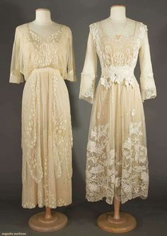 TWO LACE TEA GOWNS, EARLY 20TH C