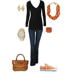orange with jeans, created by olak-clvii on Polyvore