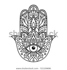 Illustration of Vector illustration. Black and white coloring with hamsa vector art, clipart and stock vectors. Hamsa Hand Tattoo, Hamsa Art, Mandala Tattoo, Hamsa Design, Hamsa Tattoo Design, Tattoo Designs, Tatouage Main Hamsa, Body Art Tattoos, Hamsa Tattoo