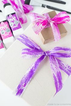 DIY for NEW FolkArt Ultra DYE: 8 Amazing Ideas To Try! Vibrant DIY Package Ribbons and Bows
