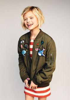 Hair Styles For Kids girls fashion, kidswear, kids fashion, kids editorial, girls bomber jacket Girls Short Haircuts Kids, Little Girl Haircuts, Short Girls, Short Hair For Kids, Short Hair Little Girls, Young Girl Haircuts, Childrens Haircuts For Girls, Kid Haircuts, Childrens Hairstyles