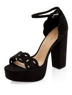 Black Cut Out Front Ankle Strap Block Heels    New Look