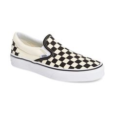 Women's Vans Classic Sneaker (12.690 HUF) ❤ liked on Polyvore featuring shoes, sneakers, black white checker, vans footwear, black white shoes, going out shoes, white and black sneakers and checkered shoes