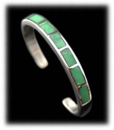 Lime Green Utah Variscite Inlay Cuff Bracelet