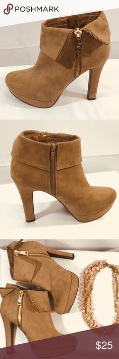 "G by Guess Tan Suede Booties w/ Gold Zipper ✨ Gorgeous Tan Suede booties with a beautiful accent zipper on outside with a functional zipper on the inside. Tall heel that is perfect for a night out on the the town! Perfectly paired with skinny jeans.    Size 9 , Heel Approx 5"" Small pull of stitching visible in picture Some scuff marks on Suede and visible wear to the soles.  Flap on one shoe slightly flipped up.  Feel free to ask me questions Offers Considered 珞 G by Guess Shoes Ankle Boots…"