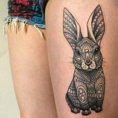 Sooo adorable! Geometric rabbit tattoo by Nakorn Boonchanawan (Chong)