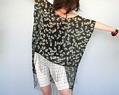 Black fringe top - oversized chiffon party top - black and beige flower print - only one piece
