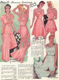 """Murdoch's"" catalogue, Summer 1942 lingerie slip pajamas pink silk satin white color print ad models 40s war era"