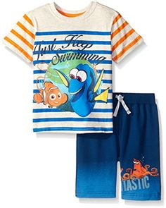 34602f56f8 Disney Boys' 2 Piece Finding Dory Absolutely Adventurous Short Set Little  Boy Outfits, Little