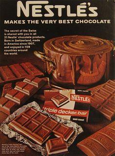 Chocolate Ads | 1968 Nestles Chocolate Ad ~ Triple Decker Bar, Vintage Candy & Gum Ads