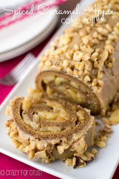 Spiced Caramel Apple Cake Roll - the BEST cake roll flavor combo ever!   crazyforcrust.com