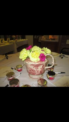 From the bridal shower: teapot centerpieces