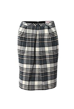 SEE BY CHLOÉ PLAID SKIRT -   Grey and cream plaid pencil skirt featuring defined pleats at the front, two side pockets and a concealed zip fastening at the back.